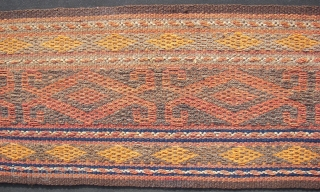 Afghan - Turkoman tentband ca. 1465 cm. x 26 cm. Wool on wool . Kilim flatweave, old.(2e. pic.)  Second tassel damaged.  One small repair . ca. 5 cm. x 1  ...