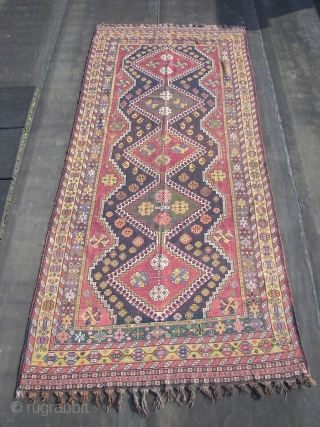 Luri-Bahktiar,village rug,325 x147 cm. wool on wool,no goathair, original guard borders and top and bottom end kelim fringes, good colors, around 1900,some old restorations in the field. Alas not yet cleaned and  ...