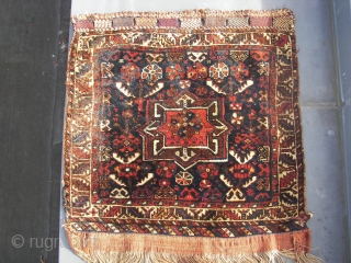"""Bagface,South Persian,tribal, wool on wool, ca 55 x 65 cm. Old. Cleaned,washed, and thick piled. Listening ; """" The revolution was posponed because of rain """". Price including transport"""