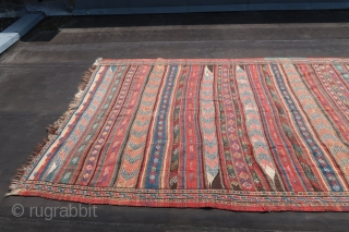 """Kordi, Kilim, brocaded, ca; 345 cm x 185 cm. Wool on wool, B/C condition. Ca. 1930. See also Wilfried Stanzer. """"Kordi"""".page 116-117.   45,oo euro s added ,for transport and insurance.  ..."""