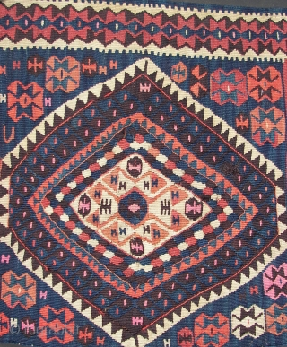 "Kurd,Kurdish, Kilim,Kilm .Wool on wool, one half of a whole. Ca. 220cm. x 80 cm. braided end. Good overall condition .Cleaned and washed. Around 1900. Listening; ""Cousin Joe Twoshacks - Leave It  ..."