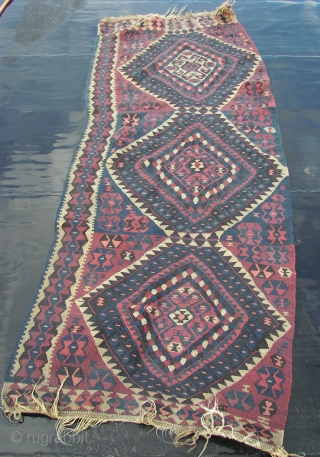 """Kurd,Kurdish, Kilim,Kilm .Wool on wool, two halves of a whole. Ca. 220cm. x 80 cm each. Braided ends. Good overall condition .Cleaned and washed .Ca. 1900.Listening; """"Cousin Joe Twoshacks - Tarzan  ..."""