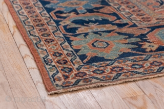 Mahal Carpet  10.4 x 13.0 3.16 x 3.96  This  well-woven and attractively coloured west Persian village Mahal has a pattern of  alternating rust/rose lobed panels  and ivory concave reserves, both filled with  ...