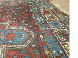 antique khamseh og Shiraz rug 1900 to 1920 size: 280 x. 220 cm Over Average Condition for Age with a few tension wear marks, minor wear, Original Selvedges and signs of the  ...
