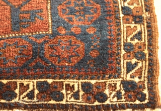 Antique Baluch Bagface. circa 1900. Soft silky wool with good pile .Natural colors. Good condition.Clean and hand washed .size .0.63cm x 0.92cm