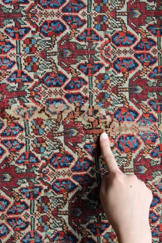 Wonderful antique afshar with rare floral design  finely woven  circa 1880, all dyes natural, original flat weave ends and original sides, in lovely condition ( ! old 5cm . 3repairs  ...