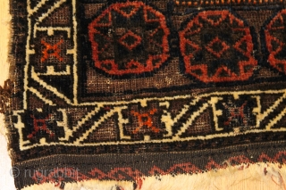 Antique Baluch bagface natural colors 19th Century Soft silky wool Clean and hand washed . 2 cm old repair [photo 3] . Size 0.75cm x 0.78cm