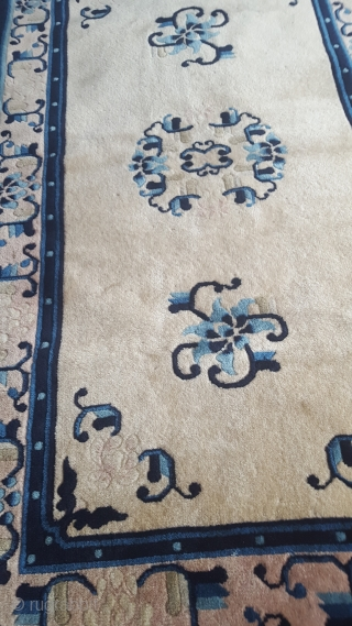 Antique Chinese Peking rug ORIGINAL GOOD CONDITION ALL NATURAL COLORS 
