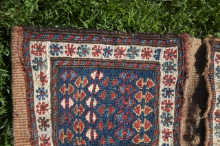 Shahsavan sumac khorjin. 1 ft. 7 in. X 9 in. All wool. 19th C. Bright natural dyes. Excellent condition.