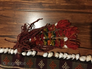 "Baluch pul donneh (money bag- or utility bag hung inside the tent). 35"" X 10-1/2 in. All wool. Complete with festive multicolored tassels . Goat hair edge wrapping. Weft substitution weave. Perfect  ..."