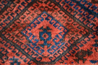"Kurd Baluch pile rug. 3'8"" X 6'. Circa 1910. Wool. Natural colors including electric blue. Excellent condition with full pile and intact kilim ends. Selvedges in good condition. A substantial weave   ..."