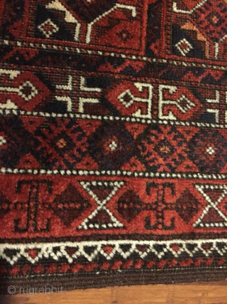 """Baluch pile rug. 58"""" X 35"""" Wool. Circa 1900. Unusual design. Good pile. Natural colors Ends and edges intact with part of kilim at each end.  Excellent condition. Just cleaned.   ..."""