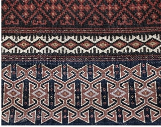 "Kalat-e-Naderi (Afshari) flat woven khorjin, complete. 5'2"" X 2'1"" Circa 1920. Natural colors. Weft substitution design on face, undyed natural plain woven wool back. Excellent condition. Good price."