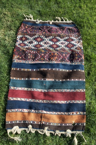"East Anatolian çuval (kilim-flatweave), 2'9"" X 2'4"". Circa 1900. Adiaman/Marash area. Beautiful natural colors. Excellent condition. Opened along sides."