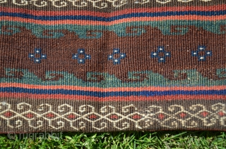 "Varamin flat woven khorjin. 5'2""X 2'1"". Wool. All warm natural dyes. Circa 1900. Excellent condition. Similar to example in Tanavoli's ""Rustic and Tribal Weaves from Varamin"" Pl. 45 p.76."