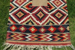 "Varamin flat woven sofre, 6'3"" X 2'5"" Wool. Early 20th C. Bright natural dyes. Slitweave and dovetailed tapestry. Excellent condition. Favorable price."