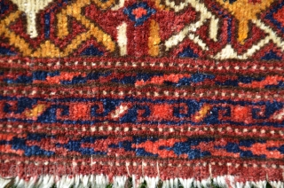 """Uzbek ikat design torba. 20"""" X 34"""". Wool. Circa 1900. Excellent original condition with full pile. Beautiful natural dyes. Fine weave. Favorable price."""