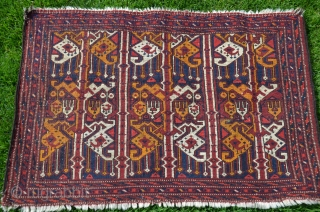 "Uzbek irate design torba. 20"" X 34"". Wool. Circa 1900. Excellent original condition with full pile. Beautiful natural dyes. Fine weave. Favorable price."