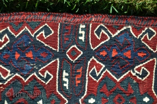 "Rare antique Karayagci (Western Anatolia) heybe. 5'1"" X 1'8"". Circa 1900. Wool with cotton design elements. Deeply saturated natural dyes. Maintained in nearly perfect condition. For comparisons see Pinkwart and Steiner ""Bergama  ..."