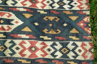 "Zakatala horse blanket. 51"" X 31"". 19th C. Wool. Natural colors. Slitwoven design elements. Very good condition with intact braided warp end. Few minute repairs.  Cleaned. Rare item...never saw another."