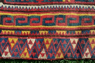 "Uzbek kilim khorjin. 163 cm. X 83 cm. Early 20th C. Wool. Bright natural dyes. Excellent condition. Published in Besim's ""Mythos und Mystik-Usbekische und Kirgische Textilkunst"" Band 6. Pl. 30C."
