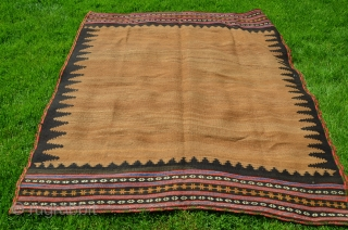 "Varamin sofreh. 66"" X 63"" Wool and camel.First 1/3 20th C. Nicely abashed camel field and brocaded ends. Natural black wool serrated border. Natural dyes. Nearly perfect condition.  Price does not  ..."