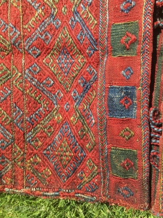 Kurdish brocaded khorjin. 54 in. X 24 in. Circa 1900. Wool. Natural dyes.  Striped plainwoven back. Fine condition. Bargain price.
