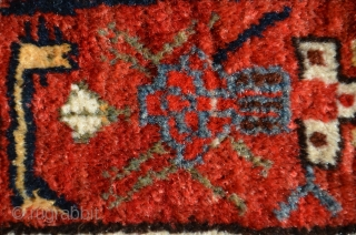 "Antique Khamseh pile rug, 81"" X 50"". Circa 1900. Yellow medallions on indigo ground with unusual elegant border. Highly saturated natural dyes including beautiful reds and yellow. Original finishes including kilim ends.  ..."