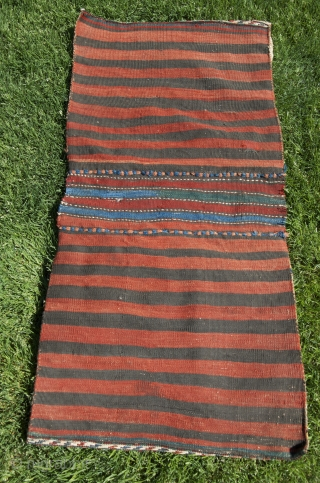 "Shahsavan flat woven khorjin. 3'9"" X 1'10"". Wool. Cheery natural color palette. Excellent condition."