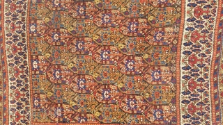 "Antique Neiriz rug,circa 1880,4'-9"" × 5'-6"", good condition, fantastic colors,wonderful border."