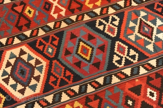 Terrific Kelim, KAUKASUS, around 1900, ca. 328 x 198 cm  Very wide and colourful Kelim in very good condition!  The ends of this Kelim are also very specially made and still original.