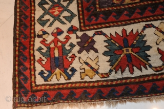 Terrific Kazak – 19th century –  Extremely beautiful and early Kazak carpet with the best possible colours (aubergine, etc.) and a gorgeous iconography!   approx. 234 x 147 cm  Collector's item!  Rare!  In good condition!  ...