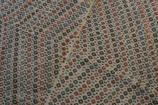 Exceptional Verneh flatweave, antique, ca. 160 x 140 cm  A very nice piece with old and beautiful light colours in good condition with two small stains!  Collectors piece!  Certificate!