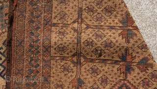 19th century central asia pray rug with baluchi design all natural colors.