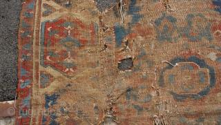 17 century Oushak fragment size 9x11.
