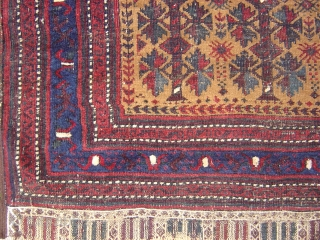 nice baluch prayer rug with really nice colors and design 19th centery and there is some repair on the field.