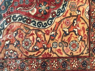 "Pure Silk Hereke Fine Workshop Rug 1950'ies. A Beautiful Topkapi Design Rug. Great Condition. The Size is 3'2"" by 4'5"". Serious inquiries only."