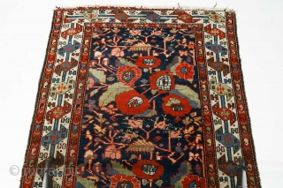 Antique Persian Unusual Malayer rug. Magnificent saturated natural colors with wonderful composition. Shahsavan style border and French inspired rose flowers pattern.