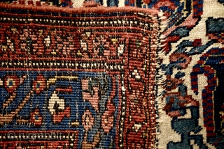 "Circa 1910's Persian Bijar. With wonderful endless Boteh pattern and magnificent natural colors. Low pile, untouched, as found. Wool on wool. 214cm x 136cm- 84"" x 53"""