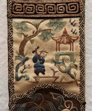 Antique Chinese silk embroidery. Peking stitch (forbidden stitch). 23cm x 7cm