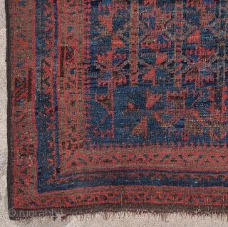 Baluch prayer rug with true polychromatic blue, small format. They started at the bottom with a single tree design and then changed to many trees in the field. selvedge is not original  ...