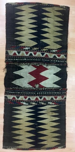 Antique Caucasian Zakatala Saddle Bag (Heybe) Size 75x173 cm / 2'5''x5'7''