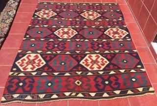 Caucasian Borchalo ( Koc Boynuz ) Excellent Condition and Wonderful Colors All Orginal Kilim Size 172x228 cm / 5'7''x7'5''