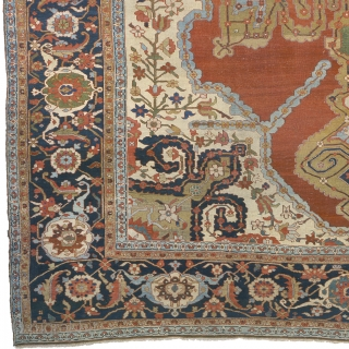 "Antique Persian Serapi Rug Persia ca.1890 18'6"" x 14'1"" (565 x 430 cm) FJ Hakimian Reference #05060"