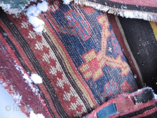 Persian Kurdish Bag in good condition. The kilim backside has some damages.  73x63 Cm. Pictures were taken in the snow.
