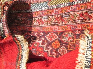 Pair Of Antique Persian  Bag Face Qushgai rugs.  size 24''x24'' each.condition excellent. beautiful top quality silky wool.collective .