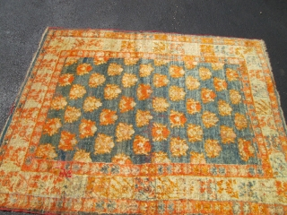 Antique  Turkish Angora Oushak  rug.