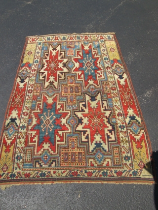 4'x5'9'' Exceptional Very Rare Leshghi Stars Caucasian Rug.