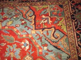 Antique Persian Heriz, Serapi  Circa 1910 Rug.  stunning colors and design antique persian heriz ,serapi rug. condition excellent for the age .no repair all original. size 12'2''x8'9''.