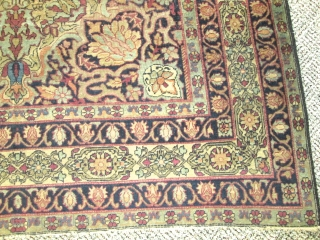 Antique Persian Laver Kerman Rug.